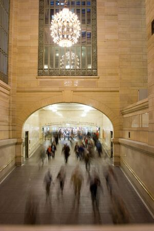 People rushing to get to the subway trains at Grand Central Station in Manhattan, New York