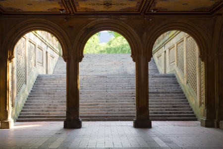 Three arches leading to the steps towards the Bethesda Terrace in Central Park, Manhattan, New York