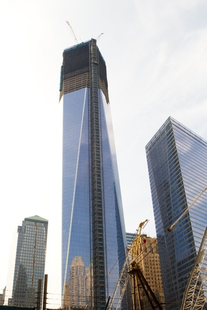 Construction of the new Freedom Tower at the World Trade Center, Manhattan, New York