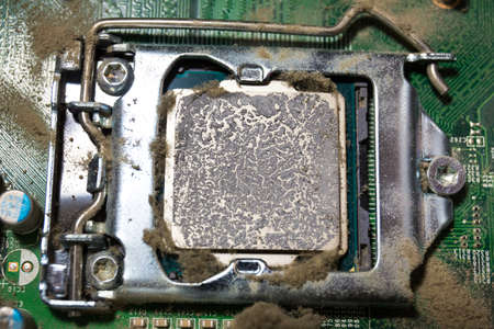 dirty processor with dried up termopast. Technoligy concept