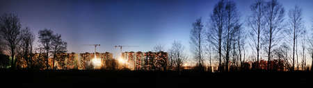 Night view of the houses under construction and the starry sky. Industrial landscape 写真素材