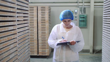 Controller checking factory storage room. Pretty young lady walking between shelves in huge storage room and making notes during inspection in factory. Stockfoto