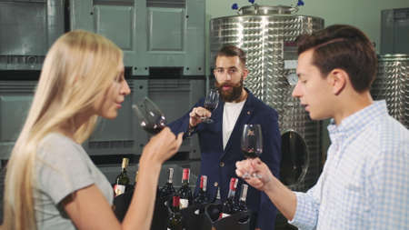 People degustation wine with sommelier. Bearded sommelier showing how to taste wine correctly to young visitors of viticulture production.