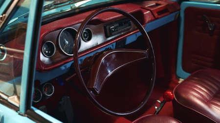 Bordeaux interior of vintage car. Limited edition