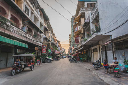 Live a dirty street in the city. Phnom Penh, Cambodia - FEBRUARY 22, 2020