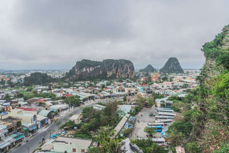 Marble mountains. Beautiful view of the valley. Vietnam Danang.