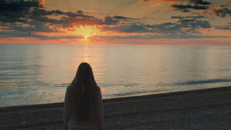 Close-up shot of woman with long hair walking to the sea and raising her hands up. Looking on sunset. Back view.