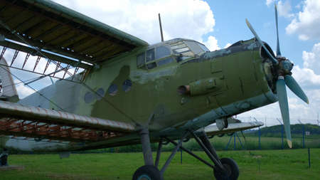Open-air exhibition of old military transport aircraft. Military aircrafts concept. Banco de Imagens