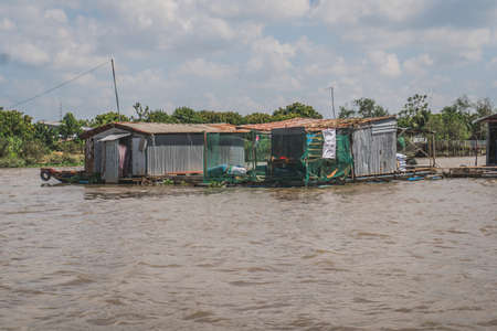 Floating house on the Mekong River in Vietnam, South East Asia. Vung Tau, Vietnam