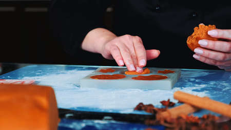 Close-up shot of womans hands working on gingerbread cookies. In front there is pastry dough. Banco de Imagens