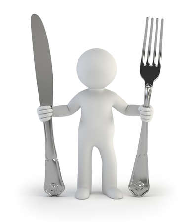 3d small people - i am hungry Stockfoto