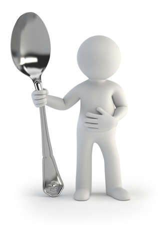 3d small people - i am hungry Stock Photo - 16557014