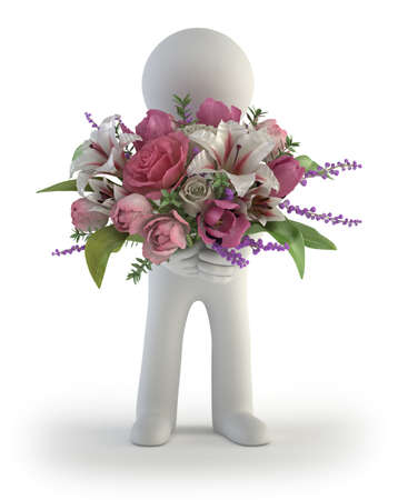 3d small people - bouquet of flowers