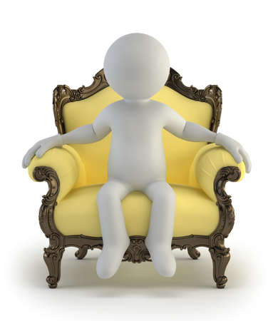 3d small people - luxurious armchair photo