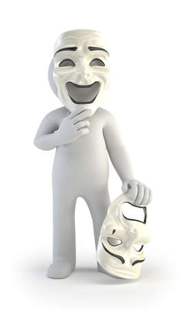 actor: 3d small people - theater masks