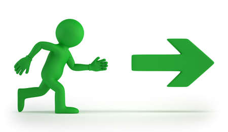 exit: 3d small people - Exit Stock Photo