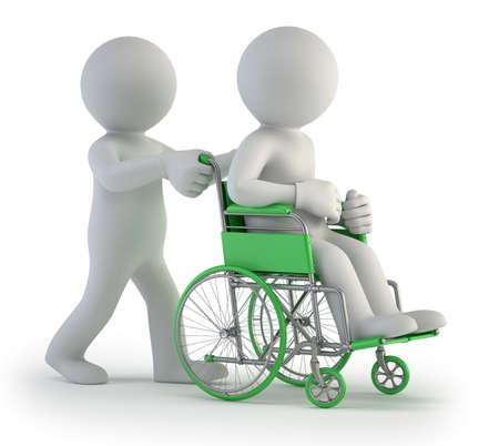 hospital cartoon: 3d piccola gente - in sedia a rotelle