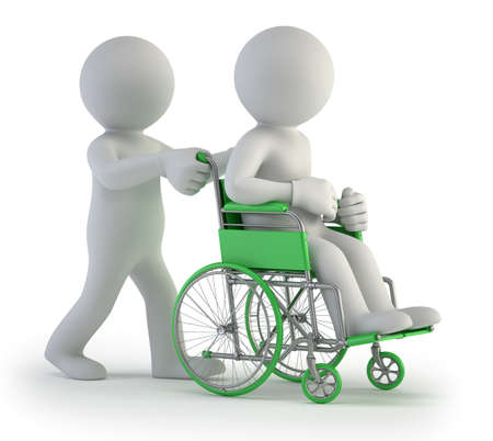 hopital cartoon: 3d small people - fauteuil roulant