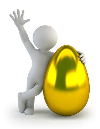idioms: 3d small people - golden egg