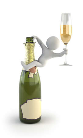 3d small people - champagne photo