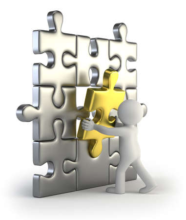 in insert: 3d small people - golden puzzle insert Stock Photo