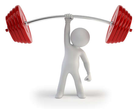3d small people - Athlete lifting weights photo