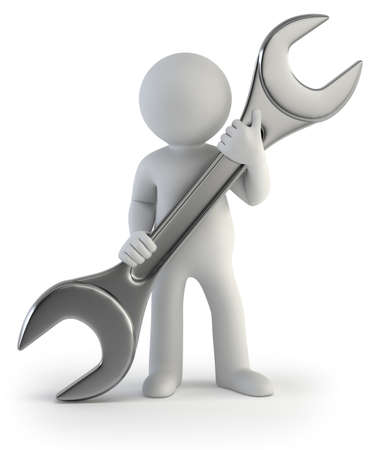 3d small people - wrench in hands Stock Photo - 17423073