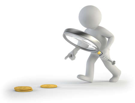 mystery man: 3d small people - looking for coins Stock Photo
