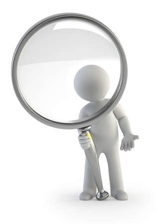3d small people - magnifying glass photo