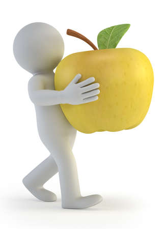 granny smith apple: 3d small people - apple Stock Photo