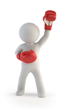 3d small people - red boxing gloves Stockfoto