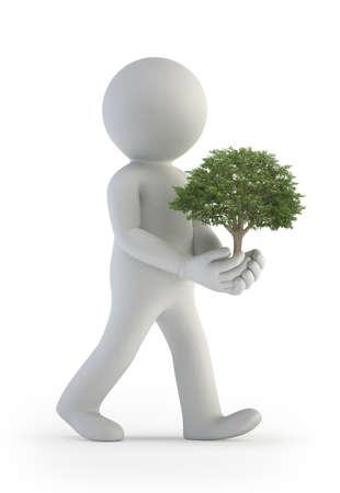 3d kleine Leute - Baum in der Hand Standard-Bild - 17423111