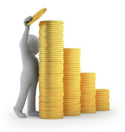 3d kleine mensen - financieel succes Stockfoto