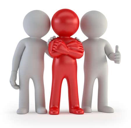 lideres: 3d small people - Líder de un equipo