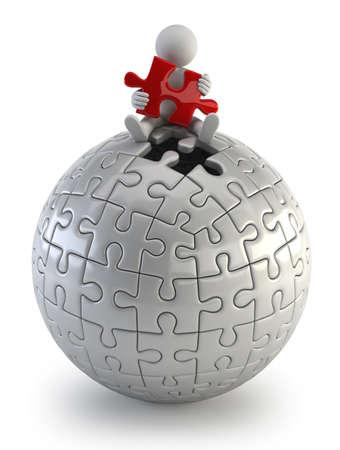 3d kleine Leute - red puzzle sphere Standard-Bild - 17423135