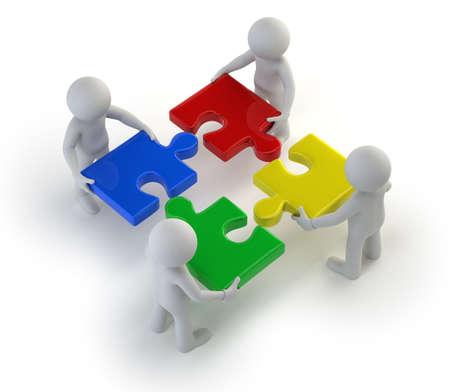 3d kleine mensen - team met de puzzels in handen Stockfoto