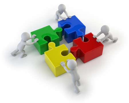 3d kleine mensen - team met de puzzels