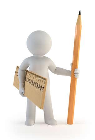 3d kleine Leute - Lineal und Bleistift Standard-Bild - 17423083
