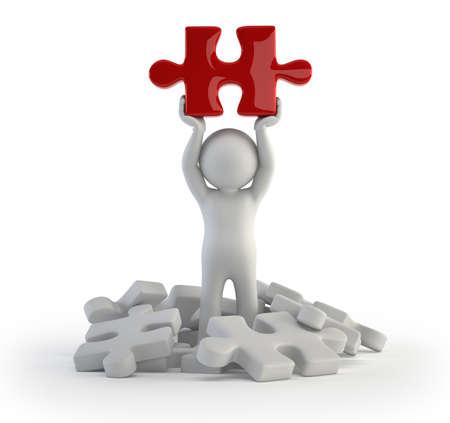 3d kleine mensen - rood puzzel Stockfoto