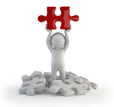 special character: 3d small people - red puzzle