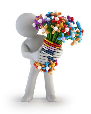 3d flower: 3d small people - Balloon flower