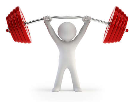 man lifting weights: 3d small people - Athlete lifting weights