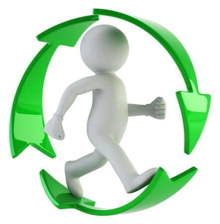 3d kleine Leute - recycle bitte Standard-Bild - 17423103