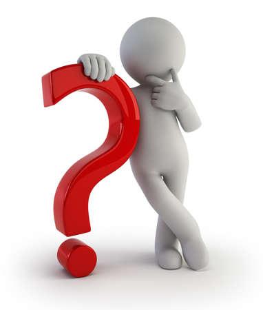 preguntando: 3d small people - con un signo de interrogación Foto de archivo