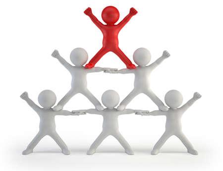 3d kleine mensen - piramide van succes Stockfoto