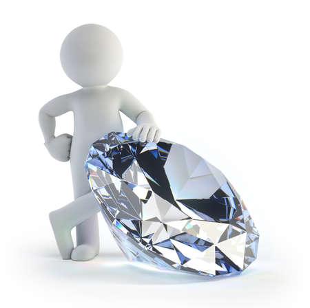 een kleine man staat in de buurt een grote diamant Stockfoto