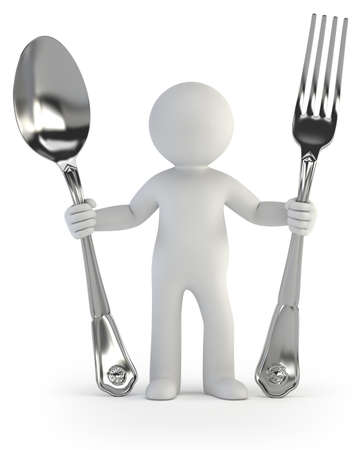 a little man holding a spoon and fork, dinner time