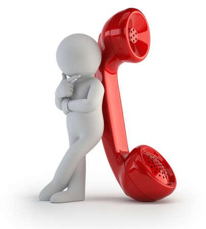 Kleine Mann wartet auf einen wichtigen Anruf Standard-Bild - 17934696