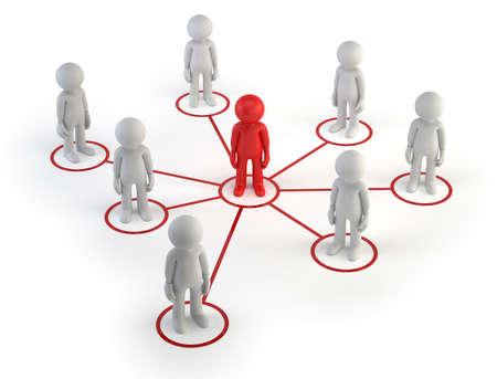Der kleine Mann bildeten eine Informations-Netzwerk Standard-Bild - 17934697