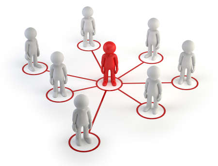 small business concept: The little man formed an information network